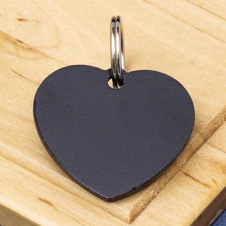 Heart Pet Id Tag Black