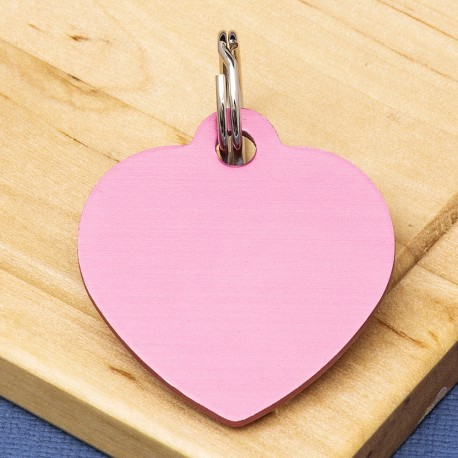 Pink Heart Pet Id Tag Large