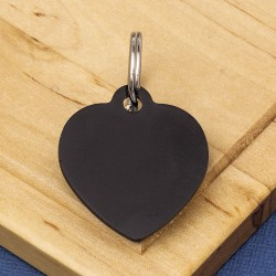 Black Heart Pet Id Tag Medium