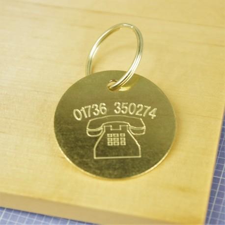 Brass Telephone Pet Id Tag