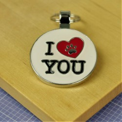 I Heart Paw Print Dog ID Tag