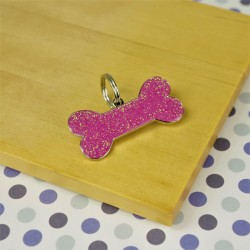 Pink Glitter Bone Dog ID Tag