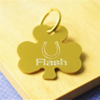 Shamrock Horseshoe Pet Tag gold