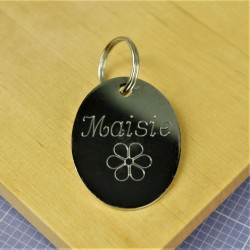 Flower Oval Pet Id Tag Chrome