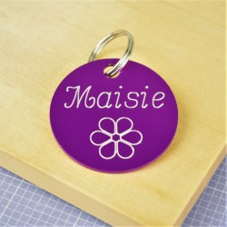 Engraved Flower Pet ID Tag