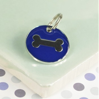 Round Blue Bone Pet Id Tag