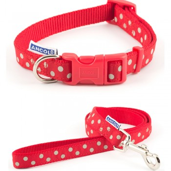 Collar and Lead Set Red Spot