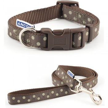 Collar and Lead Set Brown Spot