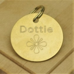 Brass Flower Pet Id Tag