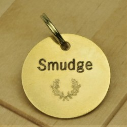 Brass Wreath Pet Id Tag