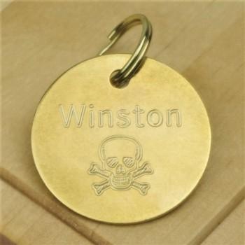 Brass Skull Pet Id Tag