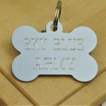 SKY Blue Army Football Pet Tag Bone