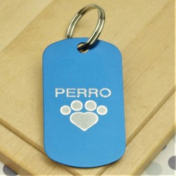 Engraved Paw Pet Tag Military Style