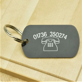 Telephone Number Engraved ID Tag