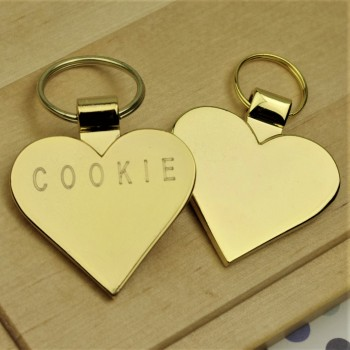 Gold Heart Dog ID Tag