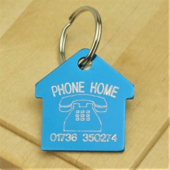 Phone Home House Shaped ID Tag
