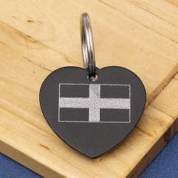 Cornish Flag Heart Pet Id Tag