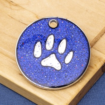 Blue Glitter Paw Dog Id Tag - Large