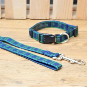Blue Tartan Dog Collar and Lead