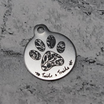 Logo Engraved Stainless Steel Pet Tag 25mm
