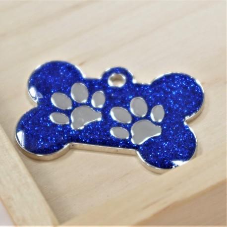 Glitter Bone Pet Tag Blue