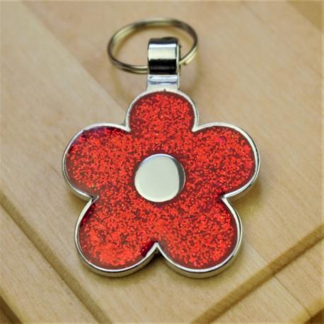 Red Glitter Flower Pet Id Tag