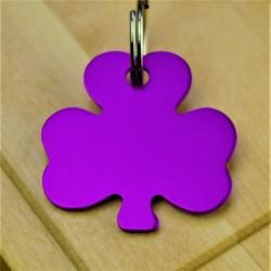 Shamrock Dog Id Tag Purple