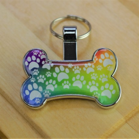 Rainbow Paw Bone Pet Tag