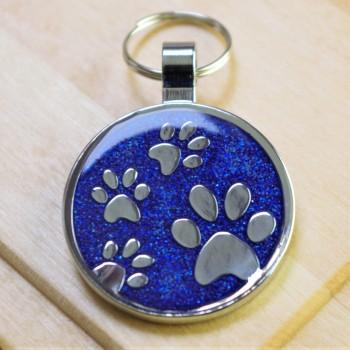 Large Glitter Paws Pet Tag