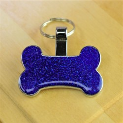 Bone Pet Tag Blue Glitter