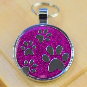 Large Glitter Paws Pet Tag Purple