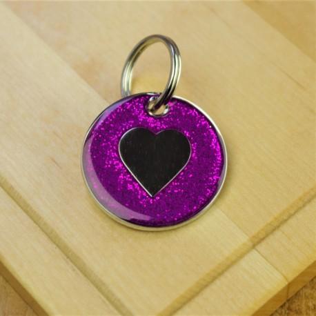 Purple Glitter Heart Pet Id Tag