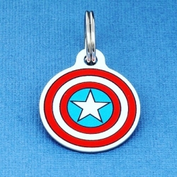 Captain America pet ID tags from the UKs largest pet tag store www.petidtagsexpress.co.uk #marvel #captainamerica #superhero #petidtags #superheropets #superdog #dogaccessories #dogsofinstagram #dogs #dogtags #dogtag #dogidtag #pettag #pettags #dogcollar #dogbling #woof #findmydog