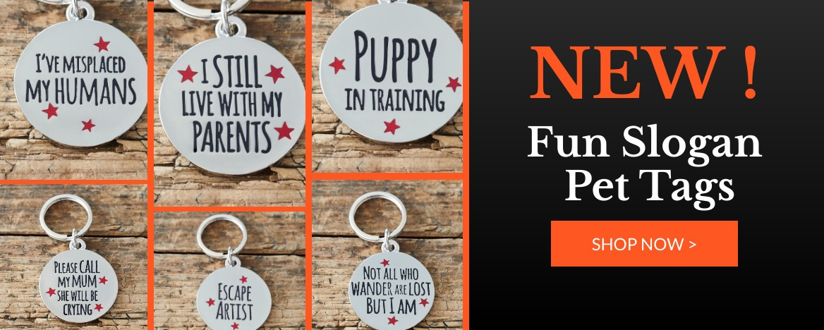 NEW FUN SLOIGAN PET ID TAGS
